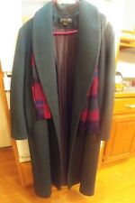"Women's Adolfo Classics Size 12 DrkGreen Dble Brsted 49"" Wool Coat NWOT!w/scarf!"