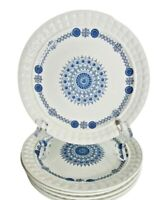 """4 Pontesa Ironstone GRANADA Bread Salad Dessert Plates 7"""" Blue Mandala Spain"""