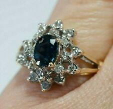 1.25ctw DIAMOND & Blue Tourmaline Cocktail Ring, 14K White & Yellow Gold, Size 6
