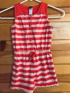 Tea Collection Red & White Striped Short Romper Girls Sleeveless Size 4