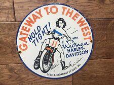 """Vintage Harley Davidson Dealer Heavy Porcelain Sign 8"""" Topless Rider"""