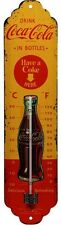 Coca Cola Yellow Nostalgie Blech Schild Thermometer 24