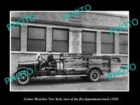 OLD LARGE HISTORIC PHOTO OF CENTER MORICHES NEW YORK, FIRE DEPARTMENT TRUCK 1920