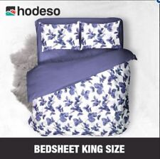 Hodeso Bedsheet Floral Design King Size With FREE Two Pillow Cases (Violet)