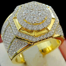 4.00 Carat Diamond Engagement Pinky Ring Mens Yellow Gold FN Round Cut Pave Band