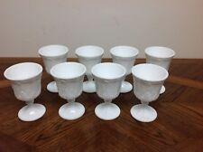 8 Vintage White Milk Glass Goblets 8 oz Grape Pattern