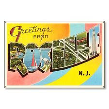 Roselle New Jersey nj Travel Postcard Metal Sign Wall Decor Steel not tin 36x24
