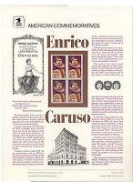 #2250 22c Enrico Caruso USPS #278  Commemorative Stamp Panel