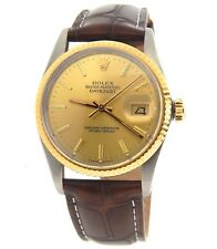 Rolex Datejust 16013 Mens 18K Gold & Stainless Steel Watch Champagne Dial Brown