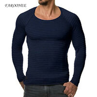 Men Muscle T-Shirt Pullover Knitted Long Sleeve Slim Fit Jumper Round Neck Top