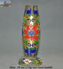 Old Chinese Buddhism temple Brass Cloisonne flower jar Vase Incense bottle