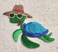 Sea Turtle - Wearing Sun Hat/Sunglasses - Iron on Applique/Embroidered Patch