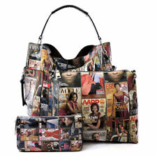 Glossy magazine collage Michelle Obama Printed Hobo+Crossbody+Wallet 3 Pcs Set