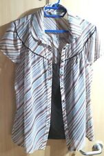 Ladies 2 Piece Blouse & matching Cami Top. Size 18 Shades of Brown Peach & Cream