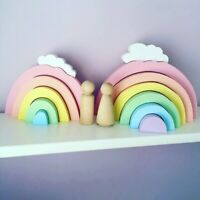 Colorful Rainbow Wooden Building Blocks Baby Stacking Toy Nursery Room Home Deco