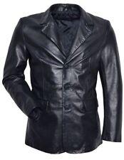 Men's Blazer SLIM JIM Black Tailored smart fitting Soft Real Leather Blazer