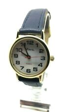Ravel Ladies BIG Number Watch Easy Read Clear Bold Dial Gold Navy Blue Strap