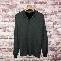 Ermenegildo Zegna Men's Long Sleeve Polo Shirt Gray Cotton Size Large Italy Made