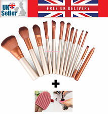 12PCS Kabuki Style Gold Pro Make up Brushes Set Kit + Brush Cleaner Washer