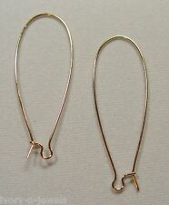 One Pair INTERCHANGEABLE Stainless Steel Earring Wires GOLD 47mm Long