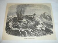 1877 magazine engraving ~ VOLCANO OF ANTUCO, Chile