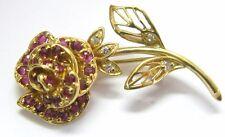 18Kt Rose Flower Gem Ruby & Diamond Pin / Brooch Yellow Gold 1.02CT