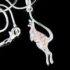 w Swarovski Crystal Pink Kangaroo Aussie Australian Joey Mother Pendant Necklace