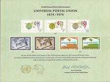 United Nations - Souvenir Card #5 - Universal Postal Union - Mint - 1974