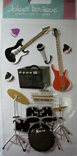 NEW 10 pc ROCK & ROLL Drums Electric Guitar Bass Microphone JOLEE'S 3D Stickers