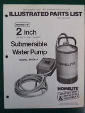 "HOMELITE SUBMERSIBLE WATER PUMP 2"" MODEL SP200-1 PARTS MANUAL NO.17022 1st"