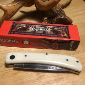 "Marble's White Smooth Bone Work Knife 3 3/4"" Pocket Knife MR579"