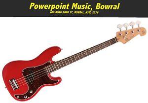 SX 3/4 Bass Guitar Short Scale - Fiesta Red + Gig Bag - VEP34FR