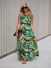 Topshop Banana Leaf Palm Tropical Floaty Summer Maxi Dress - Size Small 6 8 10