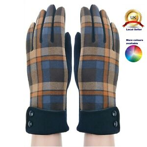 One size Gloves Suede Fabric Tartan Design Woman Lady Seasons Cotton Blend