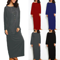 Womens Autumn Long Sleeve Oversized Sweatshirt Dress Pullover Maxi Long Dress