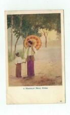 "BURMA antique post card artist signed ""A Mandalay Belle, Burma"""