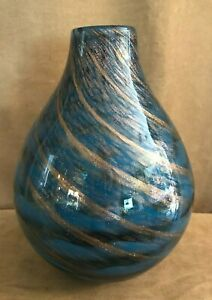 "Lenox Seaview Swirl Decorative Art Glass Home Decor Bottle Vase 11"" 845435"
