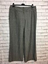 Betty Jackson Black Gray And White Stripe Trousers Size 16 Wide Leg Linen Womens