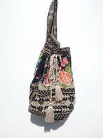 JWLA ~ JOHNNY WAS ~ Black Cotton Embroidered Backpack Hippie Bohemian Bag (#J)