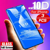 10D Tempered Glass Screen Protector For IPhone X XS MAX XR 8 7 6 Full Cover AD