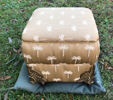 Victorian Gold Brocade Palm Sewing Storage Box Ottoman Foot Stool Casters.RARE
