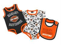 Harley-Davidson Baby Boys 2-Pack Creeper Set With Bib 3-Piece Set 3052905