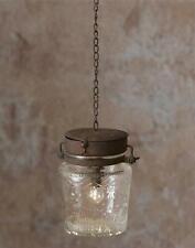 Primitive Hanging Glass Lantern With Led Light New