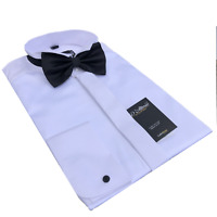 MENS WING COLLAR 100% COTTON SWISS PLEATED WHITE DRESS SHIRT BOW TIE BIG SIZES