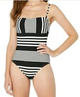 La Blanca Women's Swimwear White Black Size 14 One-Piece Striped $119 #407 New