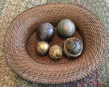 Vintage Set Of 5 Decorative Round Carpet Balls In Wicker Basket Shades of Brown