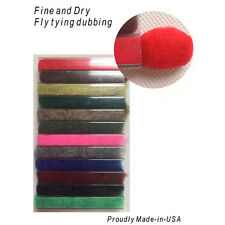 Fine & dry Dubbing Dispenser Fly Tying - 12 Colors.