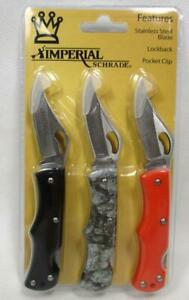 Imperial Schrade 3 Pack Lockback Folding Knives Pocket Knife SCPROM-16-38CP A-3