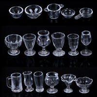 17Pcs/Set 1:12 Dollhouse Miniature Transparent TablMAare DIY Kitchenware Toy la