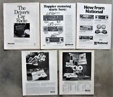 5x CAR RADIO STEREO 1970's AKAI PHILIPS NATIONAL Magazine Page Advertisements
